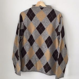 J Crew argyle Rollneck Sweater